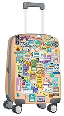 Walplus Removable Self-Adhesive Wall Stickers Luggage Labels Travel Mural Art Decals Vinyl Decoration DIY Décor 60x50 cm, Multi-colour