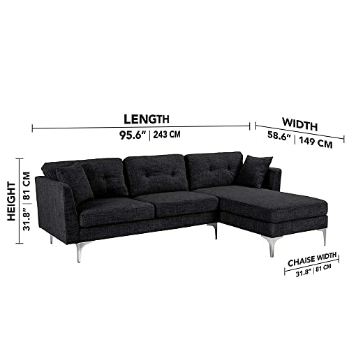 Black Upholstered Linen Sectional Sofa Couch Modern L-Shape Sectional, Sectional Sofas and Couches, Sofa Couch with Chaise, for Small Large Living spaces, Family Living Room Home Furniture Sectionals