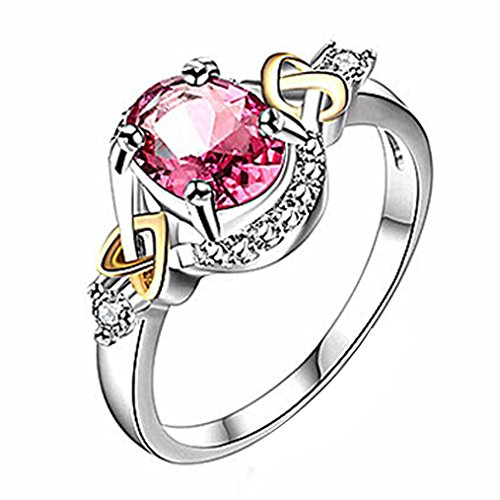(AIMTOPPY Women Wedding Engagement Ring Crystal Jewelry Rings Zircon ring (Red, US:6))