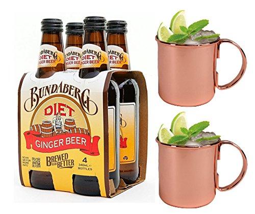 Bundaberg Diet Ginger Beer (Australia) and Moscow Mule Mug Combo Set - Includes 4-pack of Bundaberg Diet Ginger Beer and 2 Copper Moscow Mule Mugs