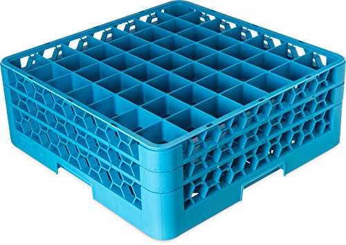 "Price comparison product image Carlisle RG49-214 OptiClean 49-Compartment Glass Rack w / 2 Extenders,  Polypropylene,  20.88"" Length,  20.88"" Width,  7.12"" Height,  Blue (Case of 3)"
