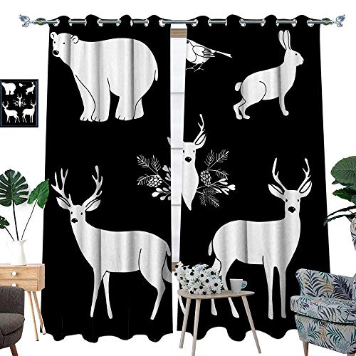longbuyer Room Grommet Indoor Curtains White Chalk Animals Cute Polar Bear and Reindeer Vector Illustrations W96 x L108 Drapes ()