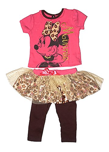 [Disney Minnie Mouse Girls Ruffle Sleeve T Shirt & Flounced Capri Legging Outfit] (Minnie Mouse Outfit For Babies)