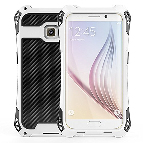 S6 Edge Case,Kinglc [R-Just] Heavy Duty Aluminum Case for Samsung Galaxy S6 Edge, Full-body Rugged Hybrid Protective Cover, Waterproof, Shockproof, Dirt Proof Metal White/Black/Red