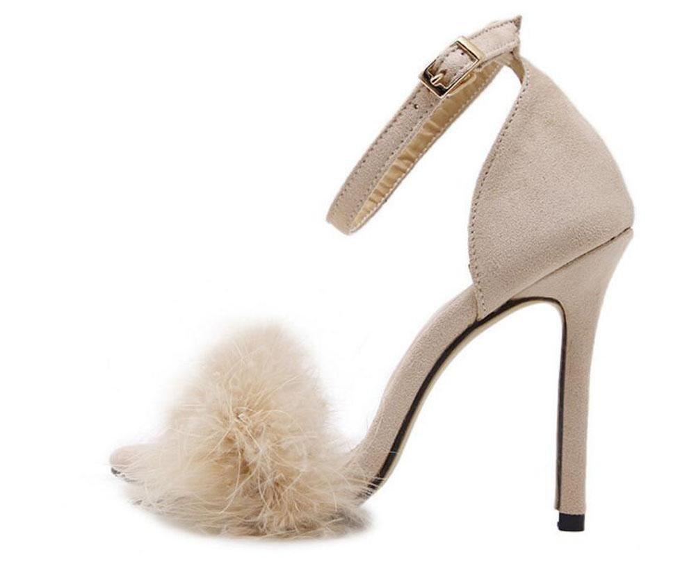 GLTER Mujeres Bombas Tacones Abiertos Plumas Sandalias de tacón alto Zapatos huecos de felpa Zapatos de corte , apricot , 40 40|apricot