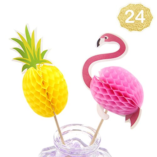 Flamingo Cupcake Toppers DIY Cakes Topper Picks Pineapple Topper Wedding/Birthday Luau Party Decoration Baby Shower Supplies 24 (Pineapple Ice Cream)