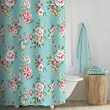 Aqua and Pink Shower Curtain Uphome Pink Rose Flower with Leaves Customized Bathroom Shower Curtain - Aqua Waterproof and Polyester Fabric Bath Curtain Design (72