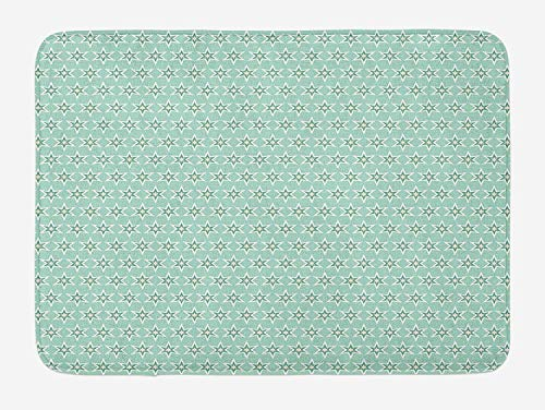 Turquoise Bath Mat, Monochrome Star Pattern Horizontal Rows Space Inspirations Lines Background, Plush Bathroom Decor Mat with Non Slip Backing, 23.6 W X 15.7 W Inches, Mint White Cream (Mint Cashmere Cream)