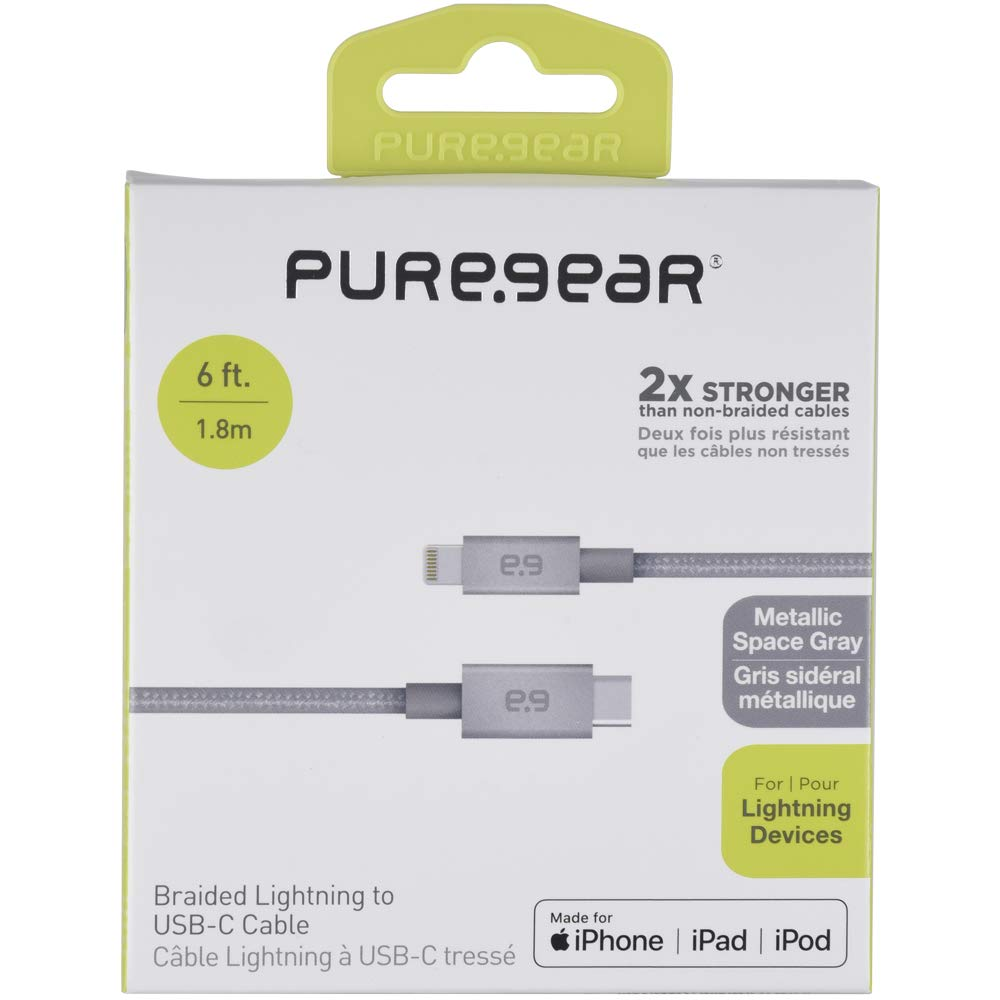 PureGear USB C to Lightning Cable, Braided Apple MFi Certified Charging Data Sync Cable Support Power Delivery and Type C Chargers, Metallic Space Gray (6 FT) by PureGear