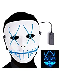 Ansee Scary Mask Halloween Cosplay Led Costume El Wire Light up for Festival Parties (Blue)
