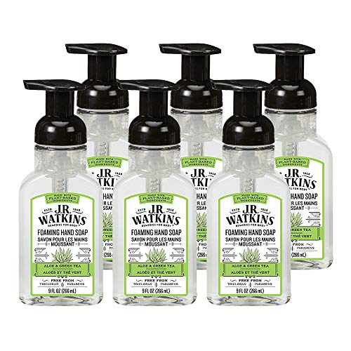 Basics Blue Lavender Shampoo - J.R. Watkins Hand Soap, Foaming, 9 fl oz, Aloe & Green Tea (6 pack)