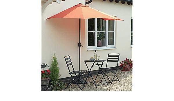 Sombrilla y Base perfecta para balcón patio Patio o pequeño jardín manivela de fácil hierro fundido base: Amazon.es: Jardín