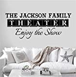Personalized Custom Family Name Theater Movie Wall Decal Sticker Customized Choose Size Color Vinyl Home Reel Popcorn Cinema Enjoy Show