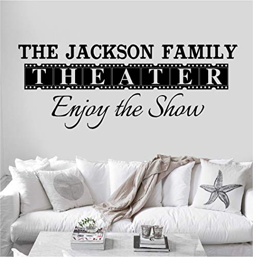 (Personalized Custom Family Name Theater Movie Wall Decal Sticker Customized Choose Size Color Vinyl Home Reel Popcorn Cinema Enjoy Show)