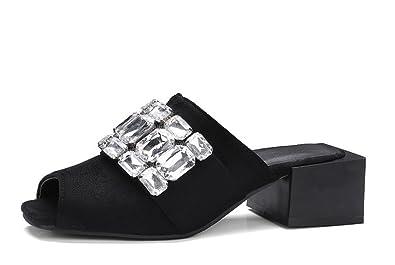 efdf43d67ce5 Easemax Women s Trendy Faux Suede Slip On Mid Chunky Heel Peep Toe Slide  Sandals With Rhinestones