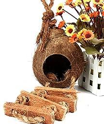 RunHigh Coco Bird Hut,Natural Hideaway with Ladder Bird Toy and Bird Food Dispenser