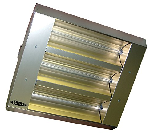 Steel Heater Hanging Electric Stainless (TPI 22360THSS240V Series THSS Mul-T-Mount Electric Infrared Heater with 3 Clear Quartz Lamps, 60° Symmetrical, 4800 W, 240 V)
