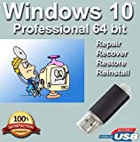 Windows 10 Professional 64-Bit Install | Boot | Recovery | Restore USB Flash Drive Disk Perfect for Install or Reinstall of Windows