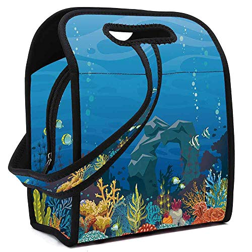 Aquarium Neoprene Lunch Bag,Colorful Coral Reef with Fishes and Stone Arch Under the Sea Natural Seascape Decorative for Students Women Office worker,Square(8.5''L x 5.5''W x - Reef Micro Aquarium Natural