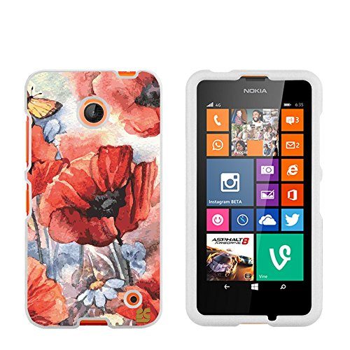 Protective Case for Nokia Lumia 630 635 Slim Two Piece Snap On Hard Plastic Rubberize Feel Durable Drop Proof Spring Canvas (Nokia Cell Phone Case 630)
