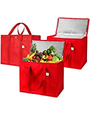 Insulated Reusable Grocery Bag by VENO, Durable, Heavy Duty, Extra Large Size, Stands Upright, Collapsible, Sturdy Zipper, Made by Recycled Material, Eco-Friendly (Red -Set of 3)