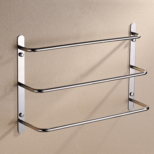 - Bason 3-Tiers Bath Towel Bar 18.9-Inch Stainless Steel Bathroom Towel Rack Wall Mount, Brushed Finish