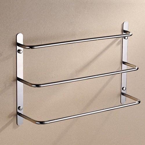 (Bason 3-Tiers Bath Towel Bar 18.9-Inch Stainless Steel Bathroom Towel Rack Wall Mount, Brushed Finish)