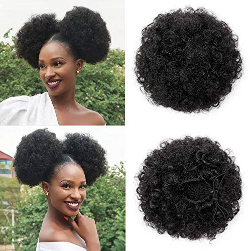 Beauty : Synthetic High Curly Puff Afro Drawstring Ponytail Faux Buns Short Kinky Curly Hair Ponytail Hair Extension Updo Wrap Hair Piece with 2 Clips(Black 1B)
