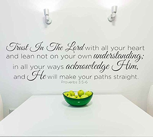 Decal Wall Lettering Sticker (Trust in the Lord With All Your Heart..Proverbs 3:5-6 Vinyl Lettering Wall Decal Sticker (29in widex 10in tall, Black))