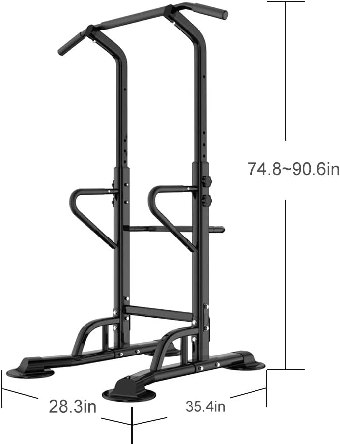 SogesPower Pull Up Dip Station Power Tower Height Adjustable Strength Training Fitness Workout Station