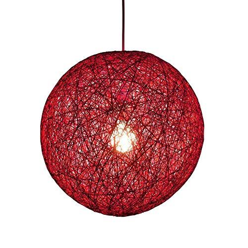 2Buy One Modern Colourful Lattice Wicker Rattan Pendant lamp Globe Ball Style Ceiling Pendant Light Lampshade for Home Dining(Red) (Pendant Lattice Light)