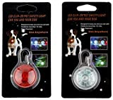 [New 2019] 2X LED Dog Collar Safety Lights, Clip on LED Lights for Bicycles, Running, Baby Strollers, Kid's Backpacks (1 Red, 1 White)