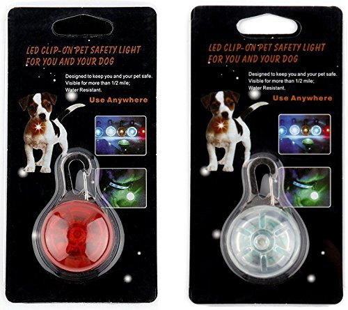 - [New 2019] 2X LED Dog Collar Safety Lights, Clip on LED Lights for Bicycles, Running, Baby Strollers, Kid's Backpacks (1 Red, 1 White)