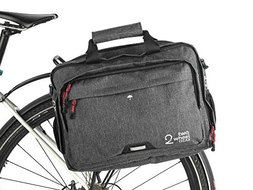 Two Wheel Gear - Pannier Briefcase Convertible - 2 in 1 - Bike Commuting Office & Laptop Bag - Kompakt Rail (Graphite)