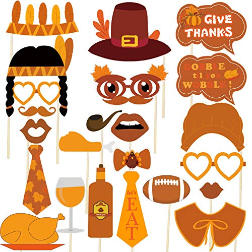 Thanksgiving Photo Booth Props - Happy Thanksgiving Party Decoration Favors - No DIY Required, Large Size, 34 Count