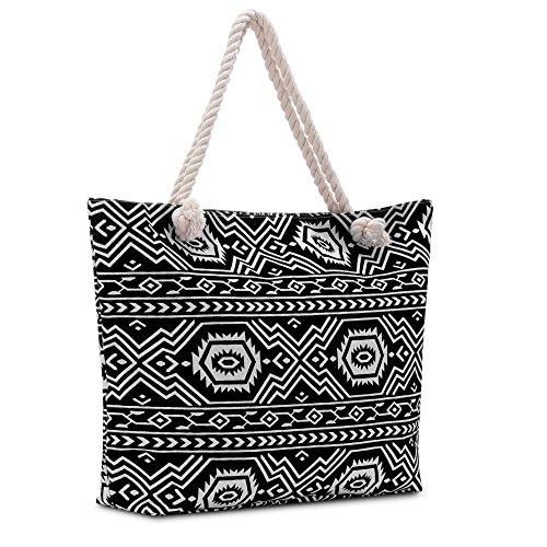 Vera Modern Women's Tote Shoulder Bag -Aztec Black