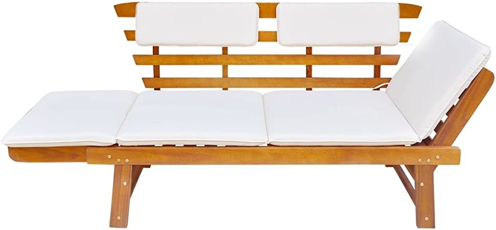 x 66 x 75 cm Festnight 2-in-1 Outdoor Sonnenliege Gartenbank Sitzbank aus Massives Akazienholz Multifunktionsbank Kombiniert Stil 155-190
