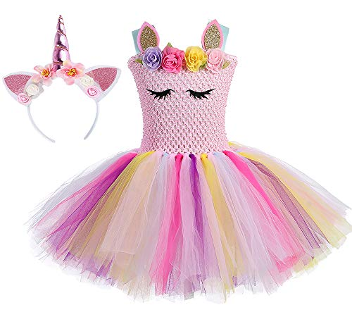 O'COCOLOUR Pink Unicorn Costume Tutu for Toddler Girls with Unicorn Headband (Pastel Pink, Medium)