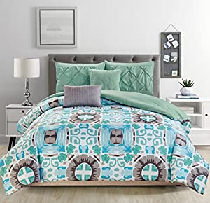 RT Designers Collection Sophia 5-Piece Reversible Comforter Set, King, Teal/Aqua/Jade/Mint/Gray/White
