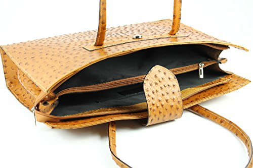 "BELLI® ""Design Bag C"" Leder Handtasche cognac Strauß Prägung - 40x30x10 cm (B x H x T)"