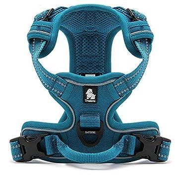 , Blu Petto 32-42 XL Vivi Bear No Pull Dog Harness Outdoor Adventure 3M Riflettente Morbido Imbottito Heavy Duty Pet Vest con Manico Regolabile in Nylon di Sicurezza Walking TrainingPet Harness