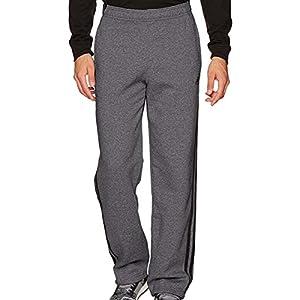 adidas Men's Athletics Essential Cotton 3 Stripe Pants, Dark Grey Heather, X-Large