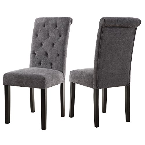 LSSBOUGHT Stylish Dining Room Chairs with Solid Wood Legs, Set of 2 (Gray)