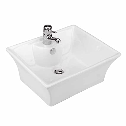 Square Vitreous China Vessel Sink U0026quot;Newcastleu0026quot; Bathroom Countertop  Scratch And Stain Resist Easy
