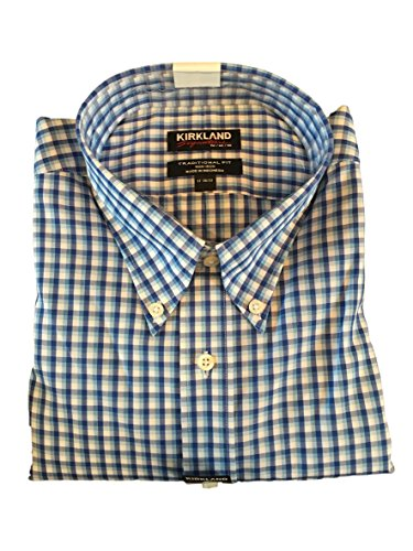 Kirkland Signature Men's Traditional Fit Button Front Long Sleeve Shirt (Light Blue Mini Checks, L 16-34/35)
