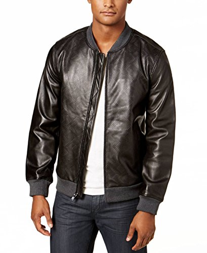 Alfani Mens Perforated Genuine Leather Jacket Deep Black M from Alfani