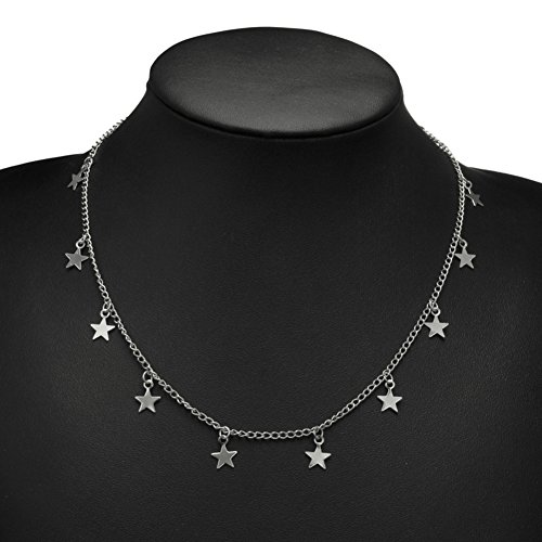 Wintefei Women Little Star Chain Pendant Necklace Solid Color Party Jewelry Gift - Silver