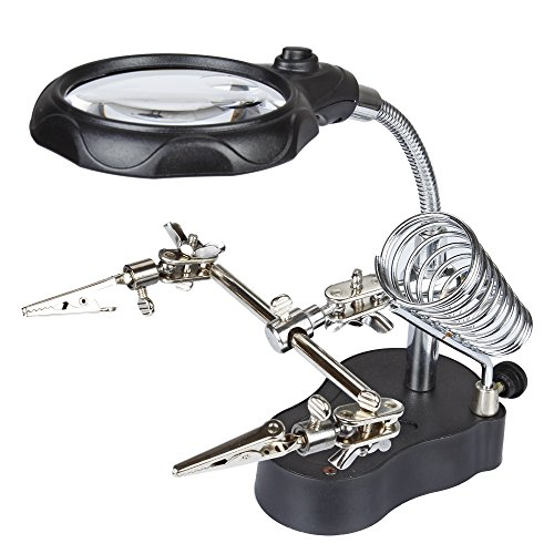 Price comparison product image Flexzion 3rd Helping Hand Magnifier Tool 3.5x & 12X with Soldering Iron Stand Adjustable Alligator Clip Clamps LED Magnifying Glass Len Workstation Light Battery Powered