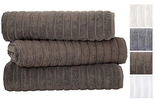 Classic Turkish Towels 3 Piece Luxury Bath Sheet Set - 40 x 65 Inch Soft and Thick Oversized Bathroom Towels Made with 100% Turkish Cotton (Chocolate)