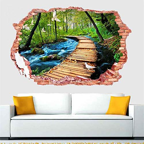 LXDWS 3D Brick Wall Pattern Mountain Path Stream Wall Stickers Home Decor Parlor Sofa Tv Wall Poster Self-Adhesive Art Mural Wallpaper (Sofa Parlor)